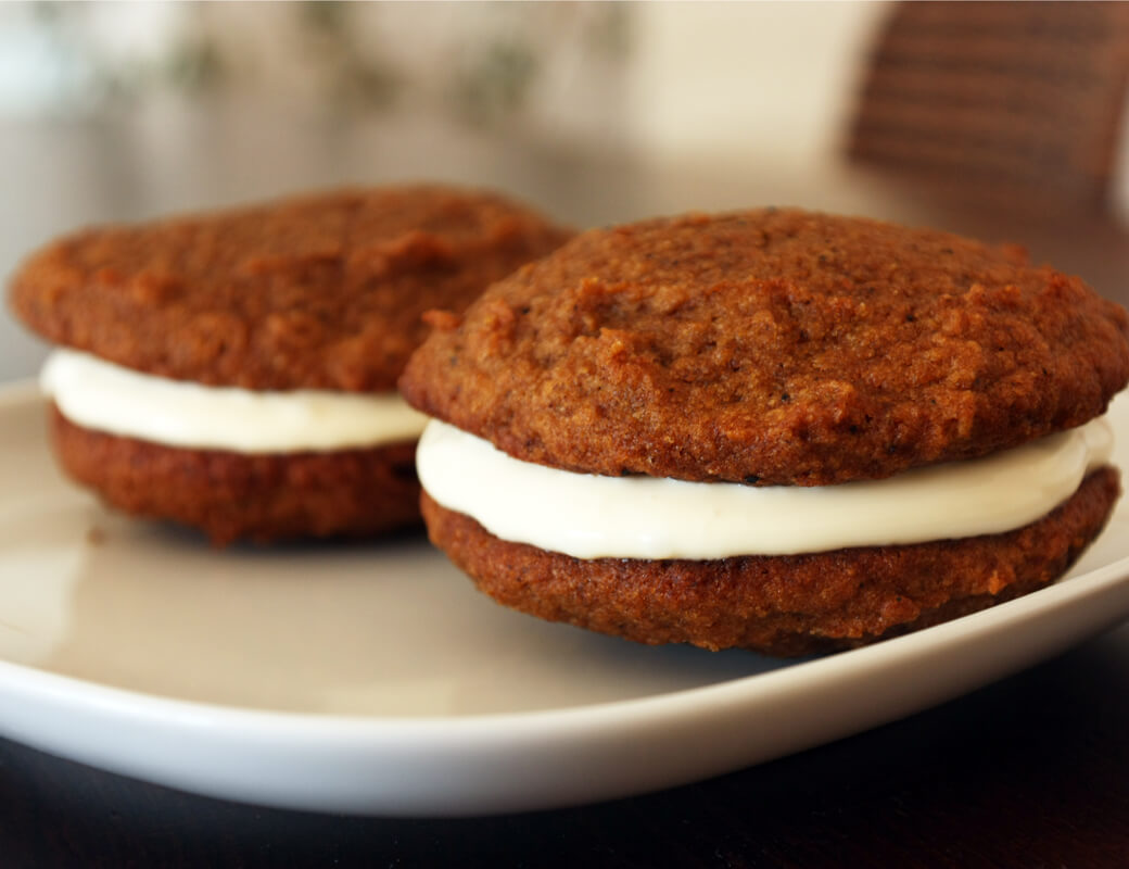 Pumpkin Whoopie Pies {flowers on my plate}